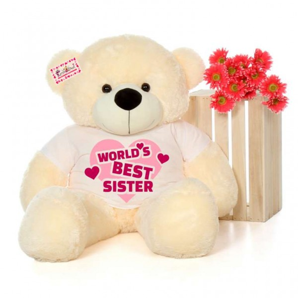 4 feet big peach teddy bear wearing Worlds Best Sister T-shirt