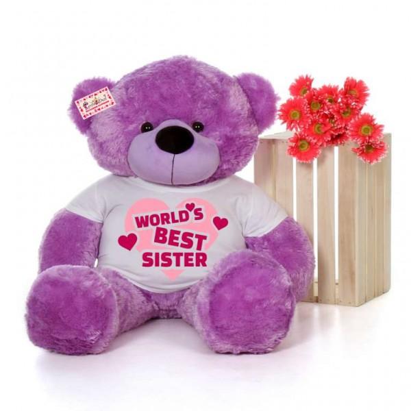 4 feet big purple teddy bear wearing Worlds Best Sister T-shirt