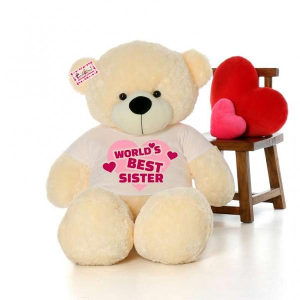 5 feet big peach teddy bear wearing Worlds Best Sister T-shirt