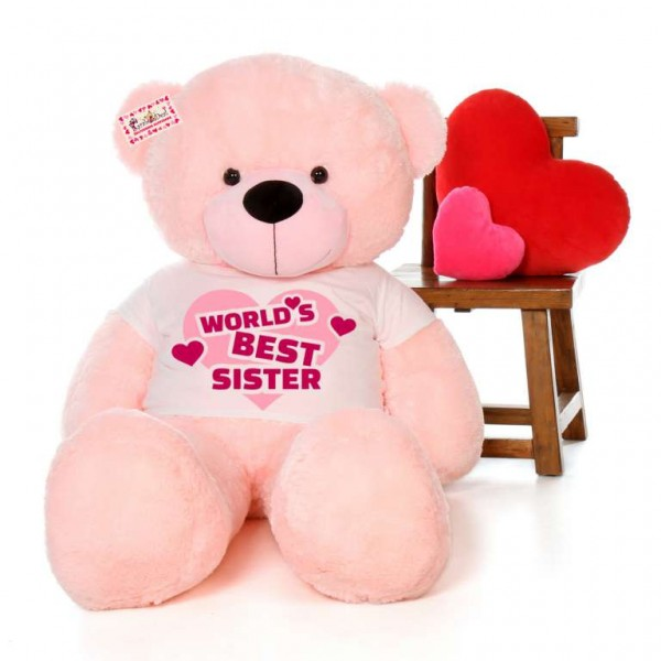 5 feet big pink teddy bear wearing Worlds Best Sister T-shirt