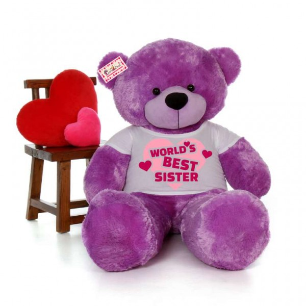5 feet big purple teddy bear wearing Worlds Best Sister T-shirt