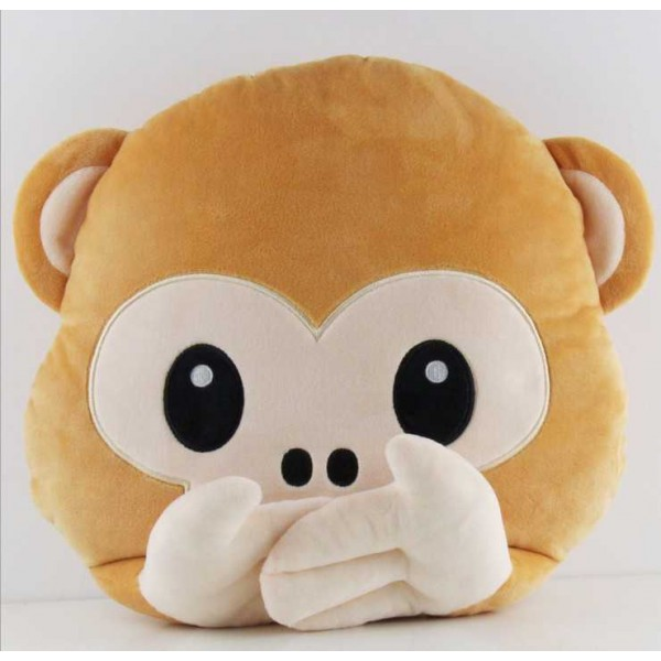 Soft Smiley Monkey Emoticon Brown Cushion Pillow Stuffed Plush Toy Doll (Do Not Speak)