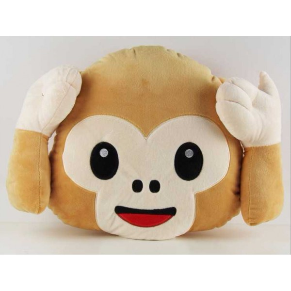 Soft Smiley Monkey Emoticon Brown Cushion Pillow Stuffed Plush Toy Doll (Do Not Hear)