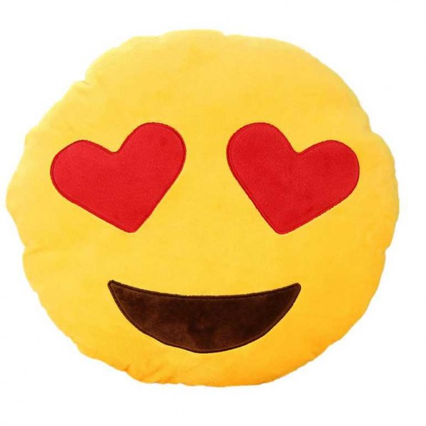 Soft Smiley Love Emoticon Cushion With Heart Eyes