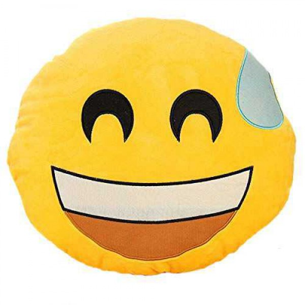 Soft Smiley Emoticon Yellow Round Cushion Pillow Stuffed Plush Toy Doll (Nervous)