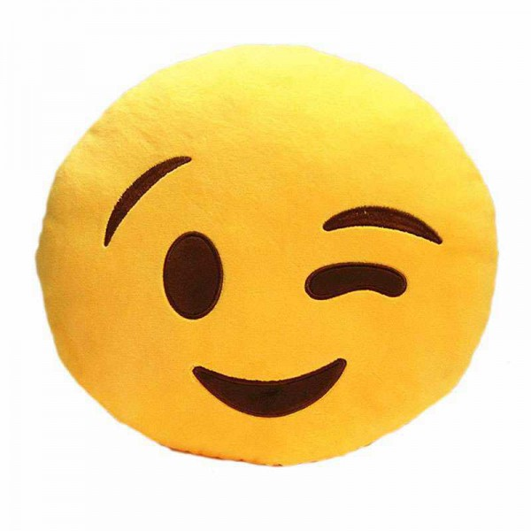 Soft Smiley Emoticon Yellow Round Cushion Pillow Stuffed Plush Toy Doll (Wink Wink)