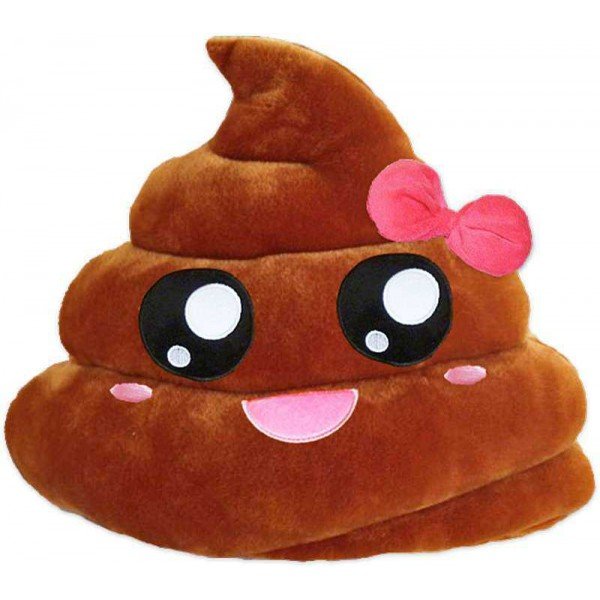 Soft Smiley Emoticon Dark Brown Cushion Pillow Stuffed Plush Toy Doll (Pretty Poo)