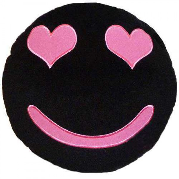 Soft Smiley Emoticon Black Round Cushion Pillow Stuffed Plush Toy Doll (Love is in the Air)