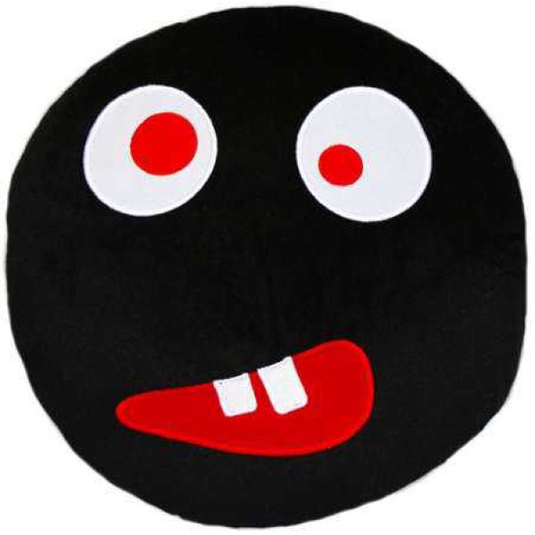 Soft Smiley Emoticon Black Round Cushion Pillow Stuffed Plush Toy Doll (Crazy Eyes)