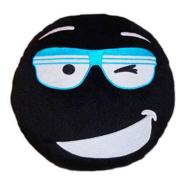 Soft Smiley Emoticon Black Round Cushion Pillow Stuffed Plush Toy Doll (Mr. Cool)