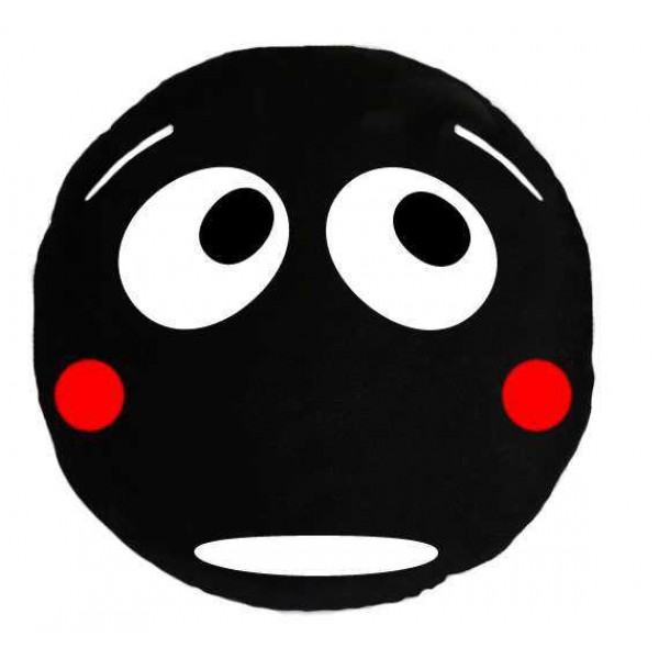 Soft Smiley Emoticon Black Round Cushion Pillow Stuffed Plush Toy Doll (Shy Boy)