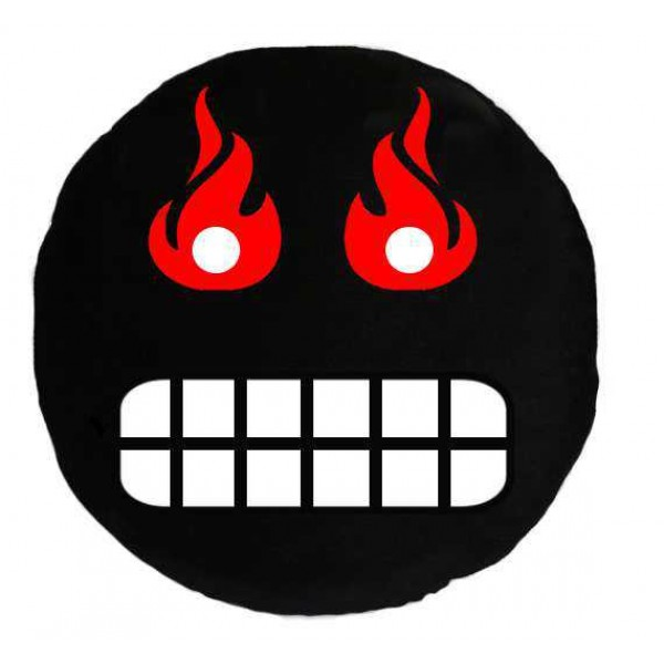 Soft Smiley Emoticon Black Round Cushion Pillow Stuffed Plush Toy Doll (Angry Fire)