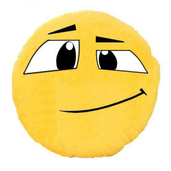 Soft Smiley Emoticon Yellow Round Cushion Pillow Stuffed Plush Toy Doll (Eyes Above)