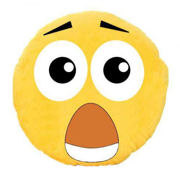 Soft Smiley Emoticon Yellow Round Cushion Pillow Stuffed Plush Toy Doll (OMG)