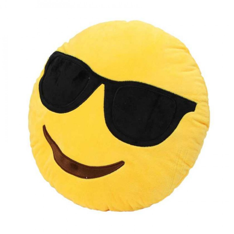 Buy Smarty Smiley Plush Round Yellow Cushion With