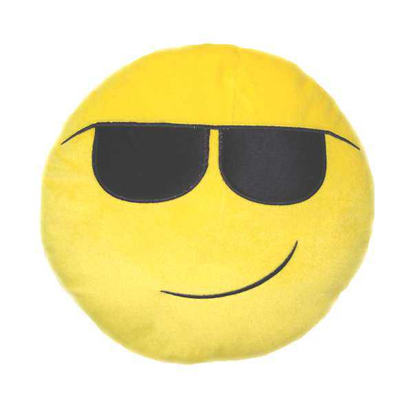 Soft Smiley Emoticon Yellow Round Cushion Pillow Stuffed Plush Toy Doll (Smart)