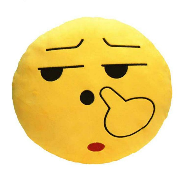 Soft Smiley Emoticon Yellow Round Cushion Pillow Stuffed Plush Toy Doll (Poky)