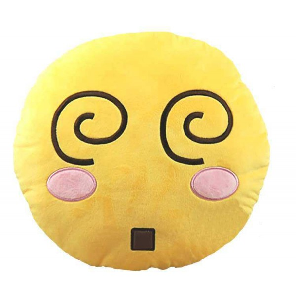 Soft Smiley Emoticon Yellow Round Cushion Pillow Stuffed Plush Toy Doll (Wriggle)
