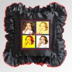 Black Square Cushion With Personalized Photo and Red Lace Border