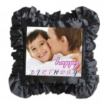 Black Square Frill Cushion With Personalized Photo