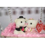 Beautiful Pink Parachute Box Hanging Couple Teddy Bears