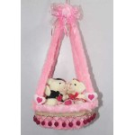 Beautiful Pink Hanging Basket with Couple Teddy Bear