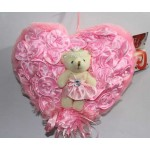 Pink Satan Roses Plush Heart with Baby Doll Teddy Bear