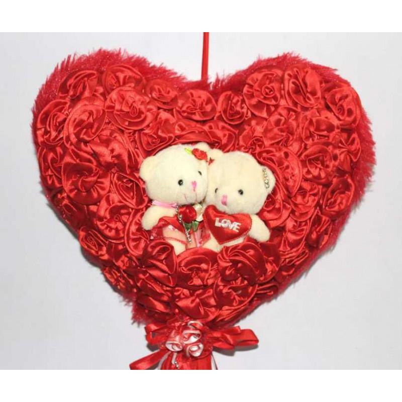 Red Satan Roses Plush Heart With Cute Love Couple Teddy Bears
