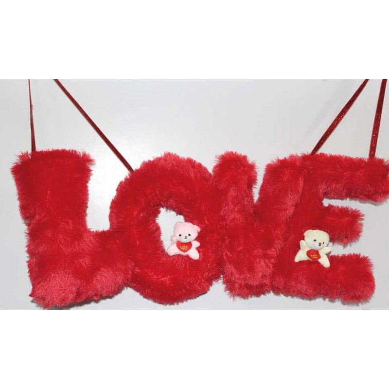 Buy Beautiful Hanging Red LOVE Letters with Teddy Couple Online at ...
