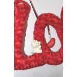 Beautiful Big Hanging Red Plush LOVE Letters with Teddy Couple