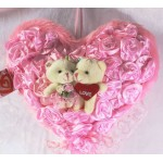 Pink Satin Roses Plush Heart with Love Couple Teddy Bears