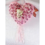 Pink Imported Roses Plush Heart with Baby Doll Teddy Bear