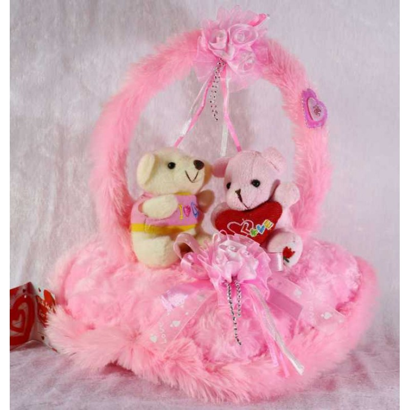 buy pink handle heart with love couple teddy bears online at lowest