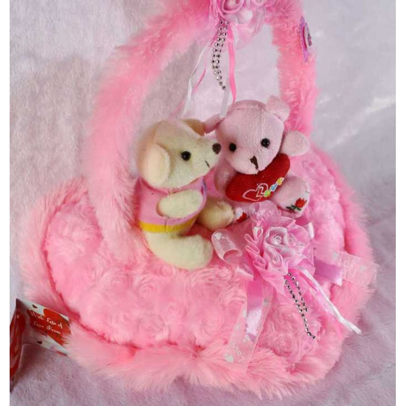 Buy Pink Handle Heart With Love Couple Teddy Bears Online