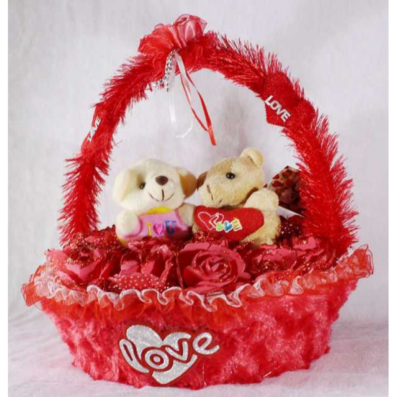 Buy beautiful red basket of imported roses with love couple teddy beautiful red basket of imported roses with love couple teddy bears voltagebd Images
