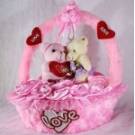 Beautiful Pink Basket of Satan Roses with Love Couple Teddy Bears