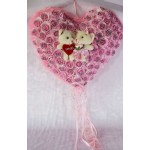 Pink Imported Roses Plush Heart with Cute Love Couple Teddy Bears