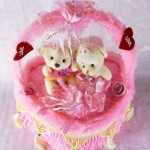 Beautiful Pink Decorated Heart Cake Plush Cushion with Love Couple Teddy Bears