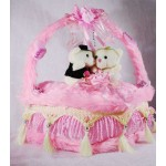 Beautiful Pink Valentine Decorated Heart Cake Plush Cushion with Love Couple Teddy Bears