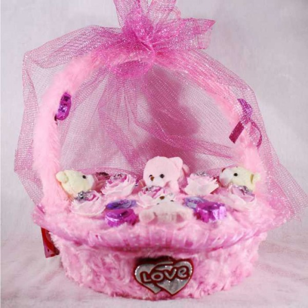 Special Valentines Pink Basket Bouquet of Teddies and Chocolates