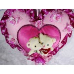 Beautiful Pink Plush Heart with Valentine Love Couple Teddy Bears