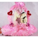 Cute Valentine Kissing Teddy Couple Bears on a Pink Handle Heart