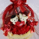 Special Red Decorated Heart Plush Cake Cushion with Love Couple Teddy Bears