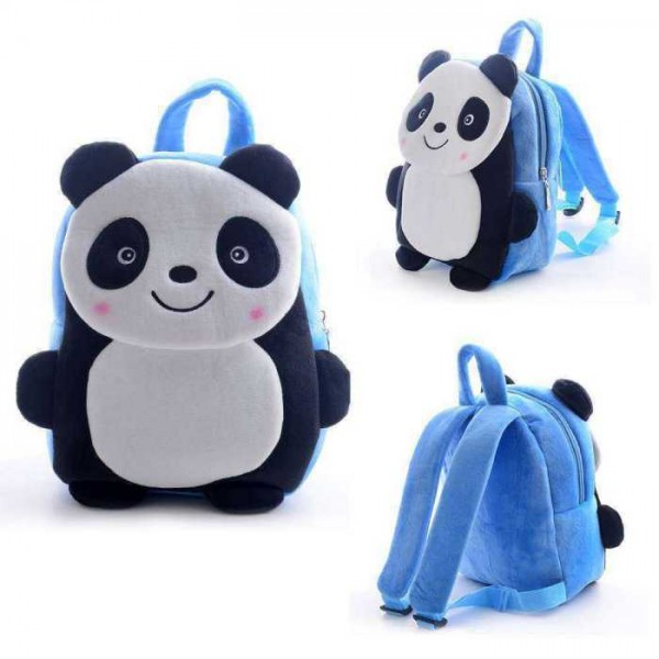Cute Blue Smiling Panda Baby Bag Stuffed Soft Plush Toy