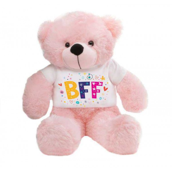 Pink 2 feet Big Teddy Bear wearing a BFF T-shirt