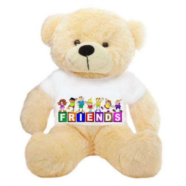 Peach 2 feet Big Teddy Bear wearing a FRIENDS T-shirt