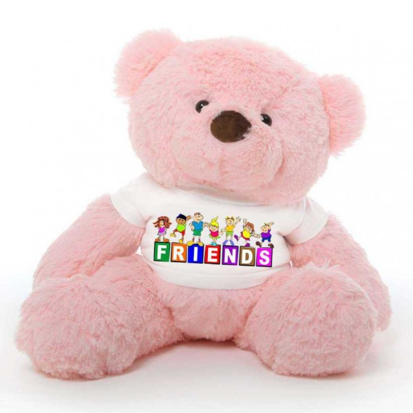 Pink 2 feet Fur Face Big Teddy Bear wearing a FRIENDS T-shirt