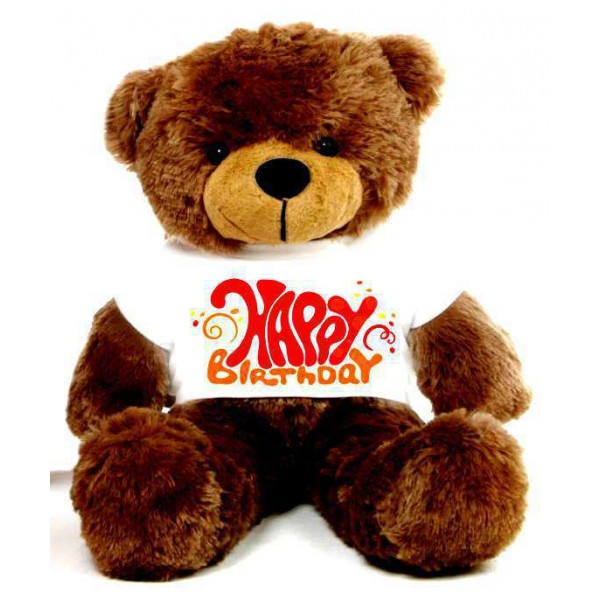 Brown 2 feet Big Teddy Bear wearing a Happy Birthday T-shirt