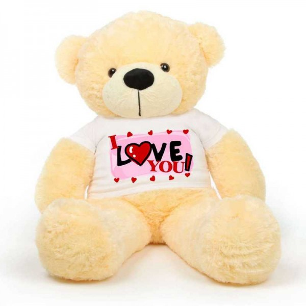 Peach 5 feet Big Teddy Bear wearing a I Love You T-shirt