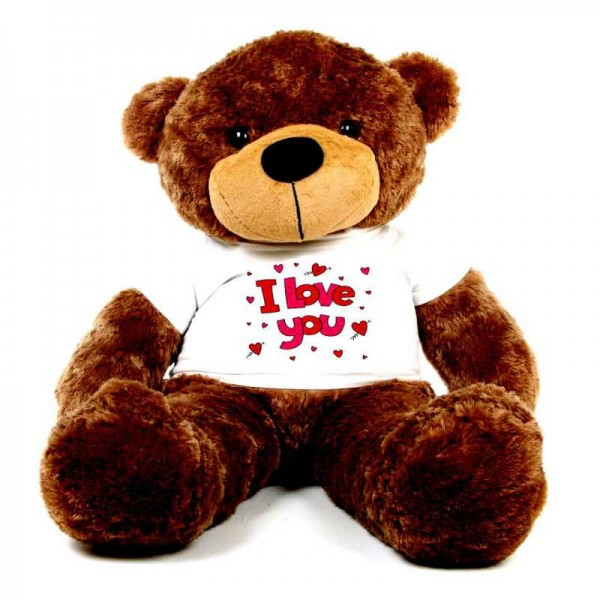 Brown 5 feet Big Teddy Bear wearing a I Love You T-shirt